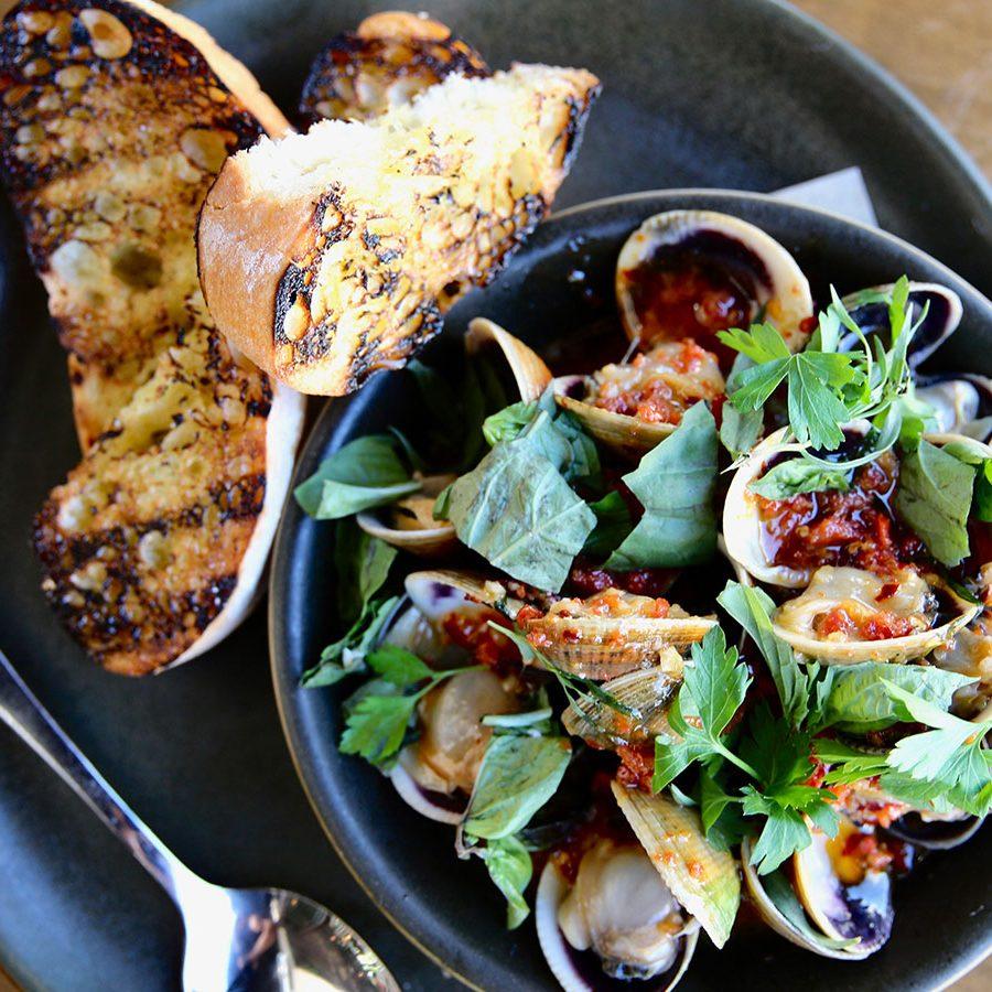 clams and chorizo