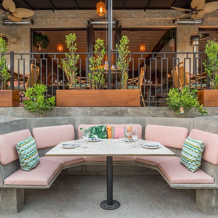 restaurant patio with unique booth design