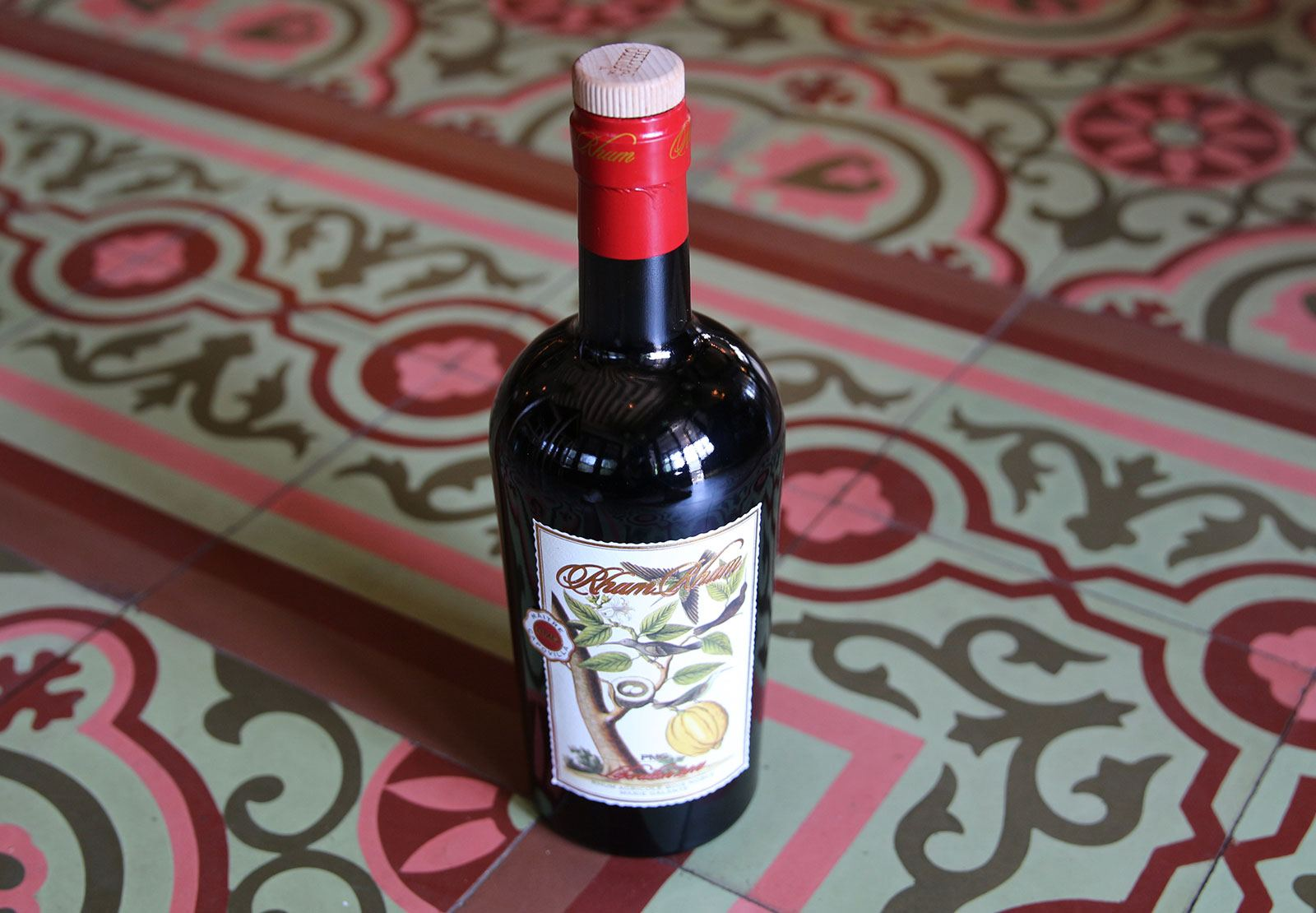 wine bottle on festive tile